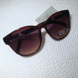 Fossil brown sunglasses with gold arms
